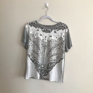 3 FOR 15 Zara white and grey patterned t shirt